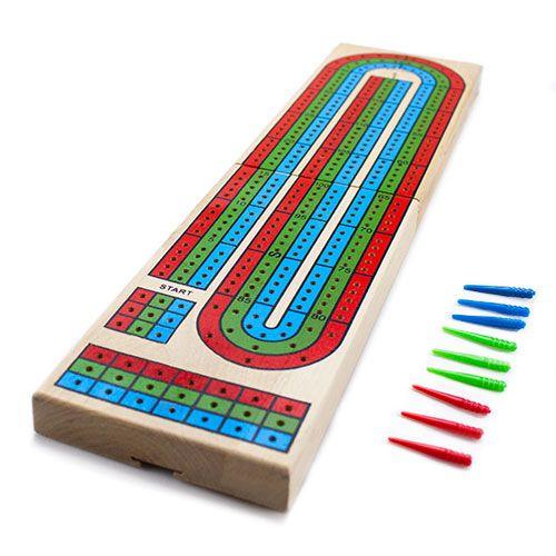 Wooden 3 Track Cribbage Board