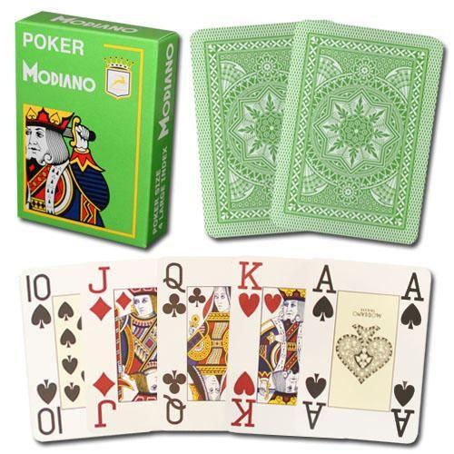 Modiano Cristallo Poker Size, 4 Pip Jumbo Light Green