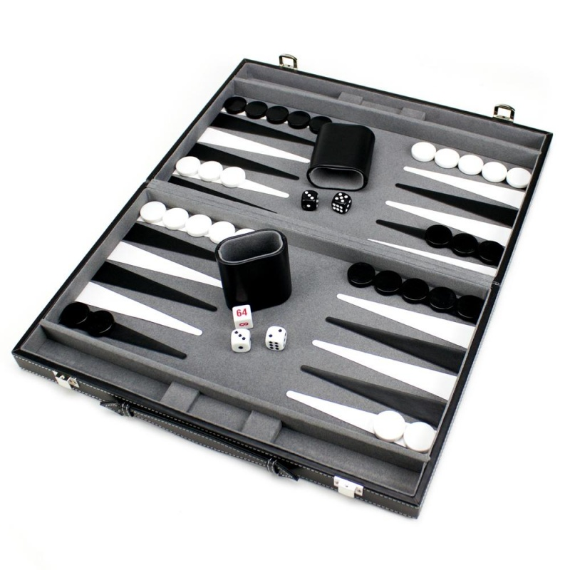 15In Backgammon Set With Stitched Black Leatherette Case