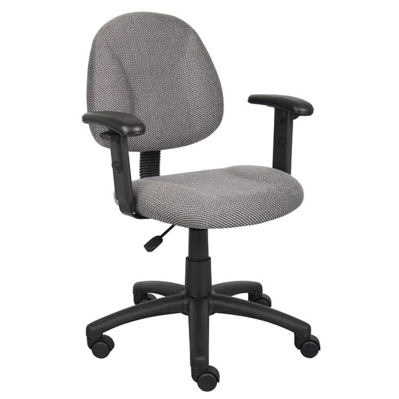 Boss Perfect Posture Deluxe Office Task Chair With Adjustable Arms, Grey