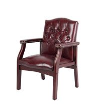 Boss Traditional Oxblood Vinyl Guest, Accent Or Dining Chair W/ Mahogany Finish
