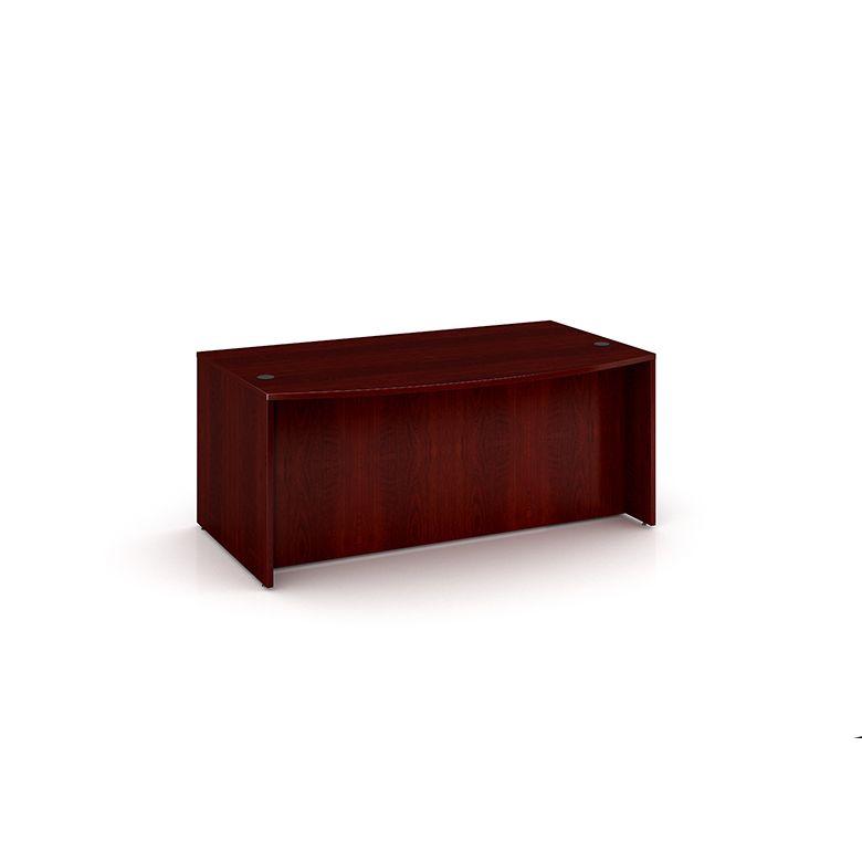 Boss Bow Front Desk Shell, Mahogany 71″W*36/41″D*29.5″h