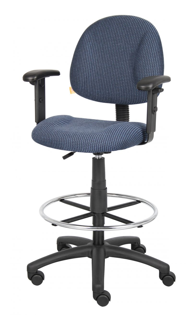 Boss Ergonomic Works Adjustable Drafting Chair With Adjustable Arms And Removable Foot Rest, Blue