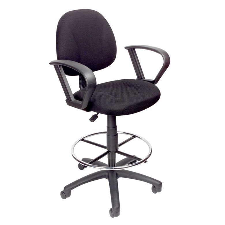 Boss Ergonomic Works Adjustable Drafting Chair With Loop Arms And Removable Foot Rest, Black