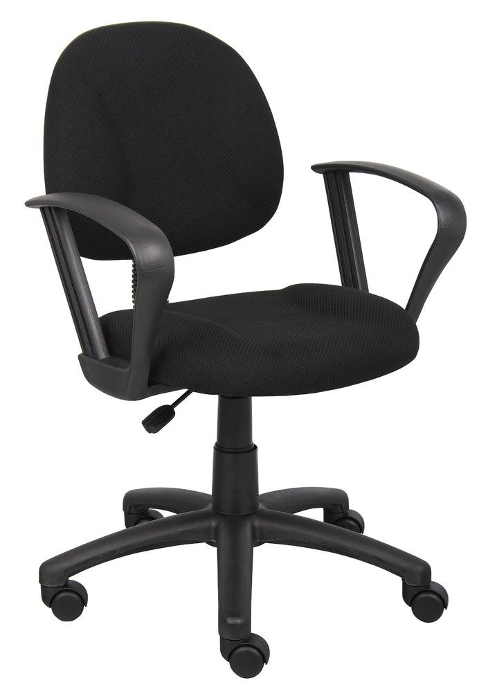 Boss Perfect Posture Deluxe Office Task Chair With Loop Arms, Black