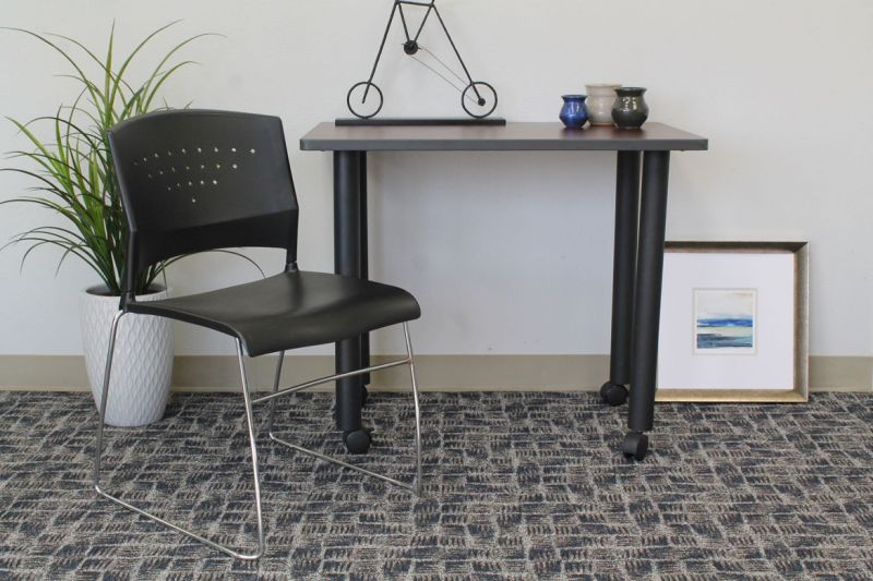 Boss Black Stack Chair With Chrome Frame, (1 Chair)