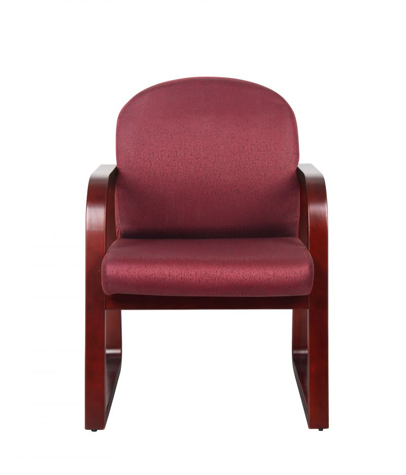 Boss Mahogany Frame Guest, Accent Or Dining Chair In Burgundy Fabric
