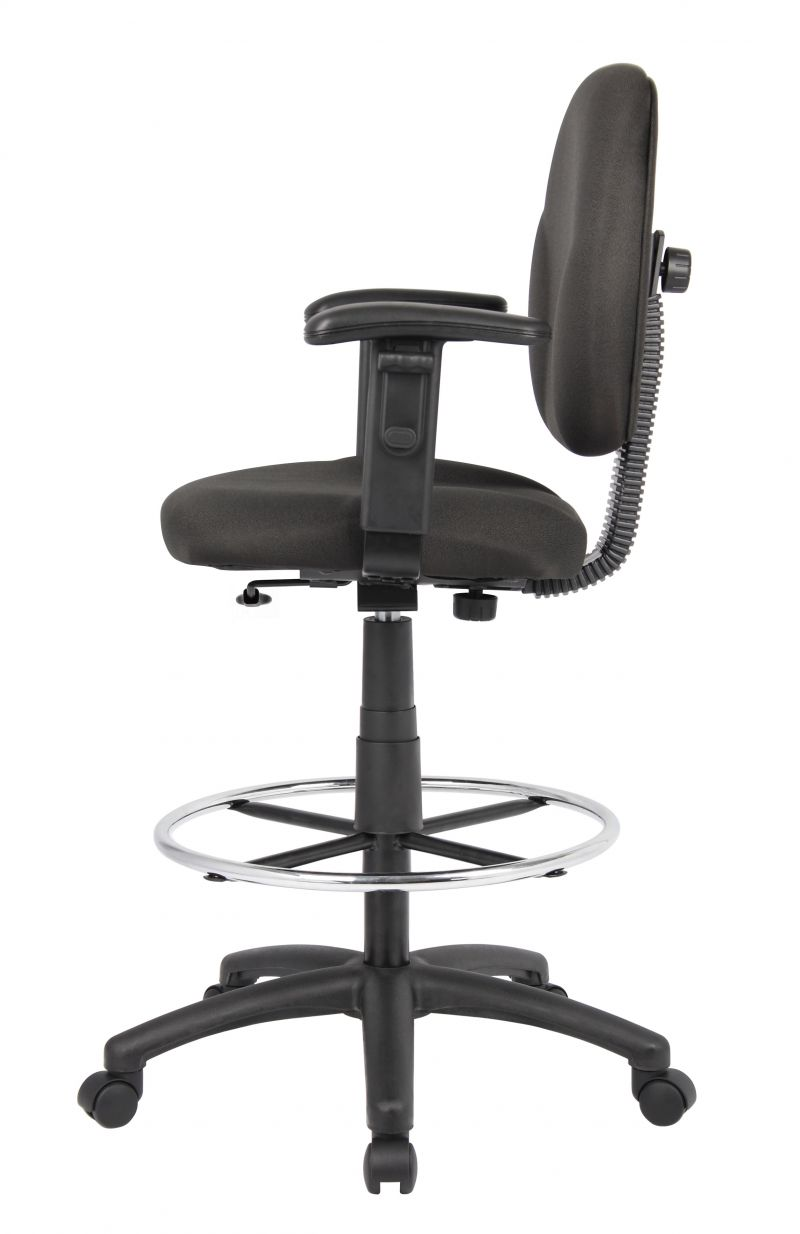 Boss Stand Up Fabric Drafting Stool With Foot Rest, Black