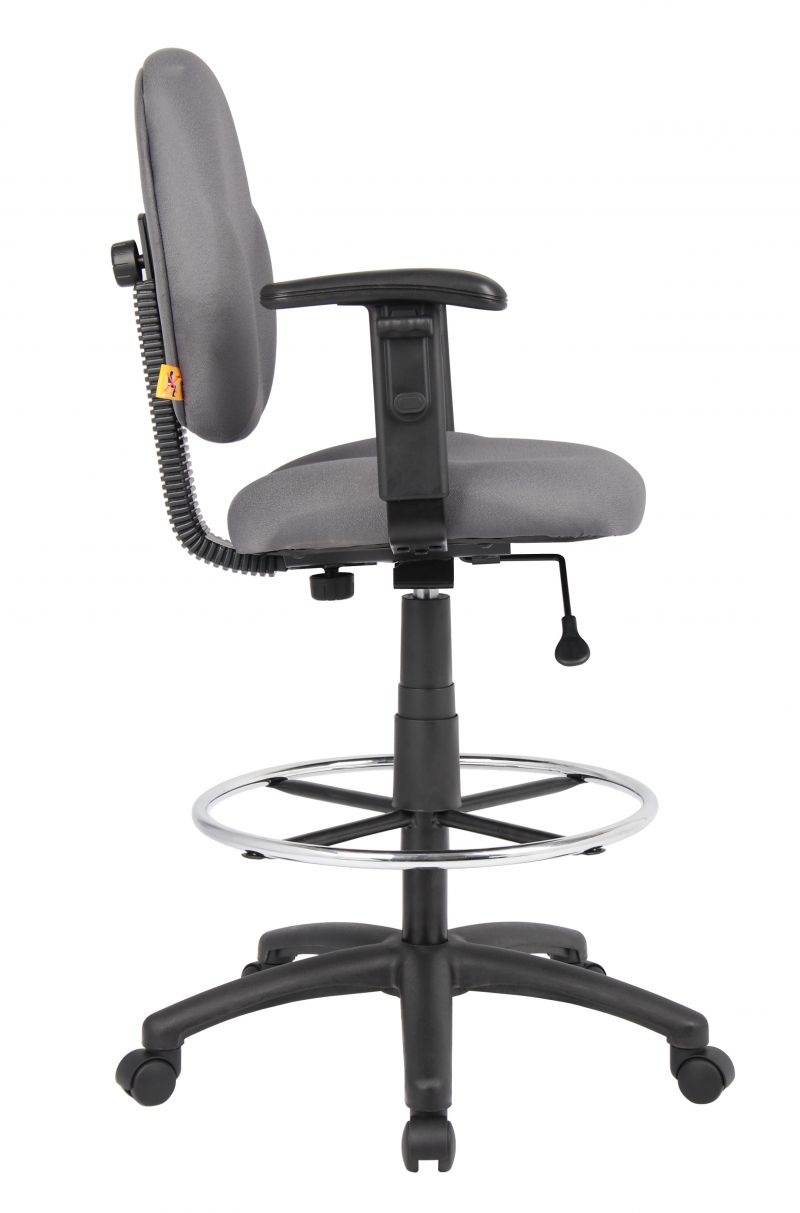 Boss Stand Up Fabric Drafting Stool With Foot Rest Grey