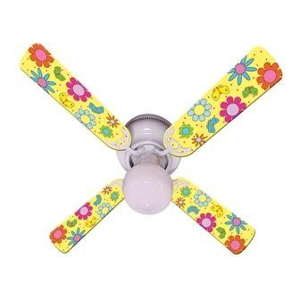 """New Flower Power Butterflies Yellow Ceiling Fan 42"""""""