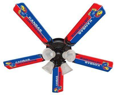 """New Ncaa Kansas Jayhawks 52"""" Ceiling Fan"""