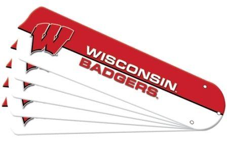 """New Ncaa Wisconsin Badgers 52"""" Ceiling Fan Blade Set"""