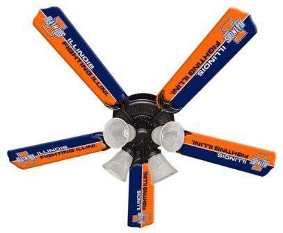 """New Ncaa Illinois Fighting Illini 52"""" Ceiling Fan"""