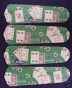 """New Poker Cards Casino Craps 42"""" Ceiling Fan Blades Only"""