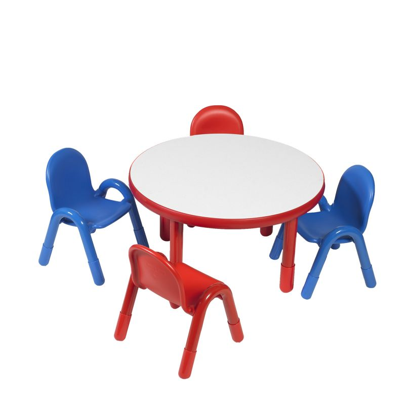Baseline® Preschool 36″ Diameter Round Table & Chair Set – Candy Apple Red