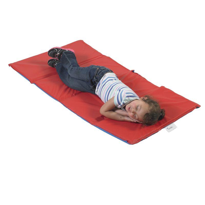 Angels Rest™ Nap Mat 1″ – Red/Blue 4-Section Folding Mat