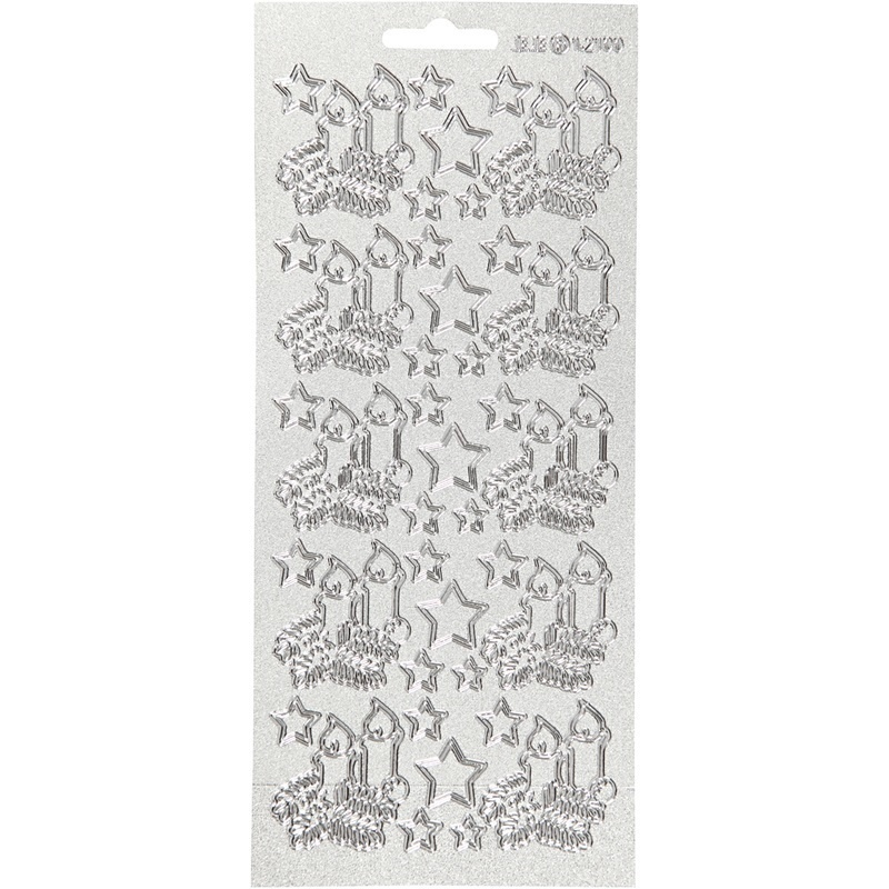 Creativ Company Stickers, Silver, Christmas Candles, 10x23 Cm, 1 Sheet