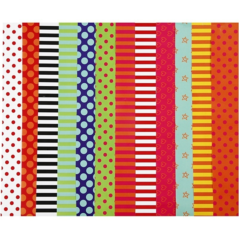 Creativ Company Glazed Paper, Assorted Colours, Pattern, 32x48 Cm, 80 G, 100 Ass Sheets