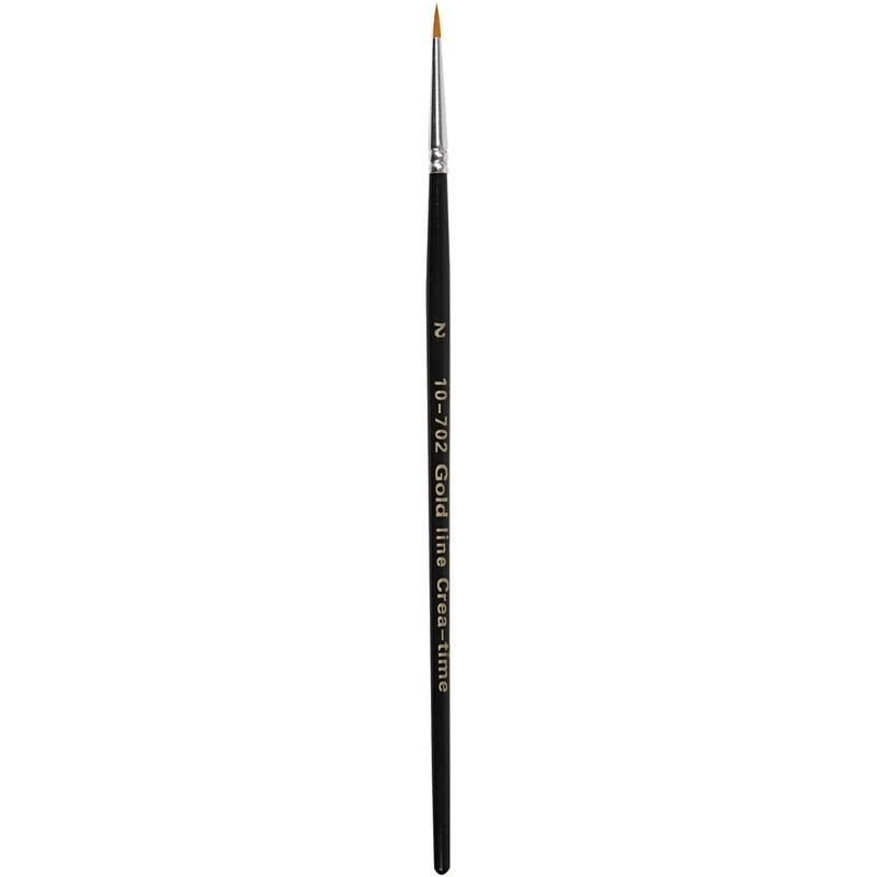 Creativ Company Gold Line Brushes, Round, 2, W: 2,5 Mm, 12 Pc