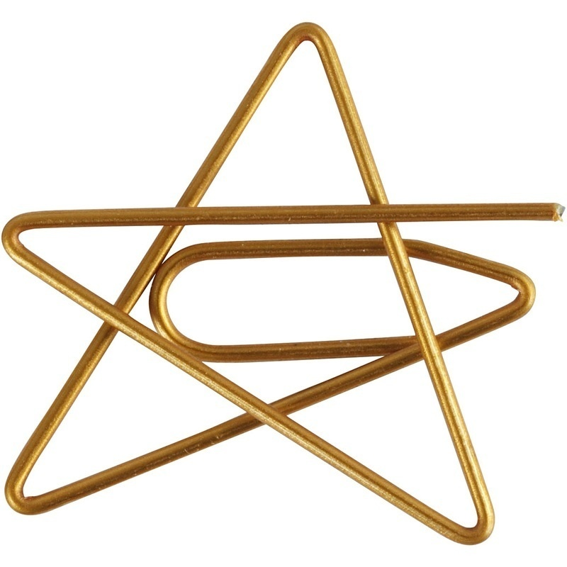 Creativ Company Metal Paperclips, Gold, Star, 6 Pc
