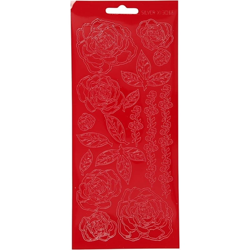Creativ Company Stickers, Red, Roses, 10x23 Cm, 1 Sheet