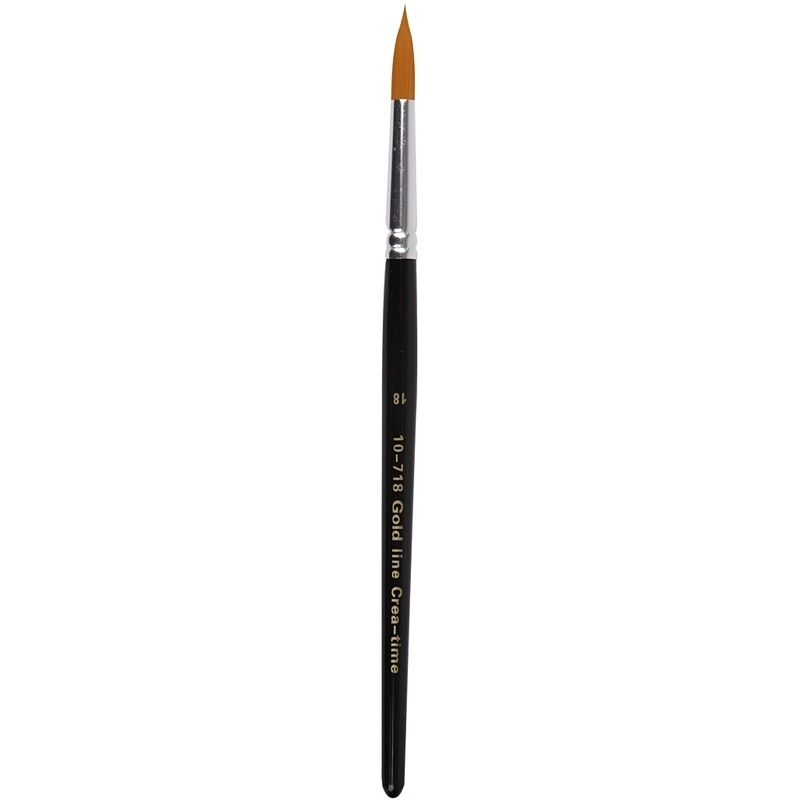 Creativ Company Gold Line Brushes, Round, 18, W: 7 Mm, 6 Pc