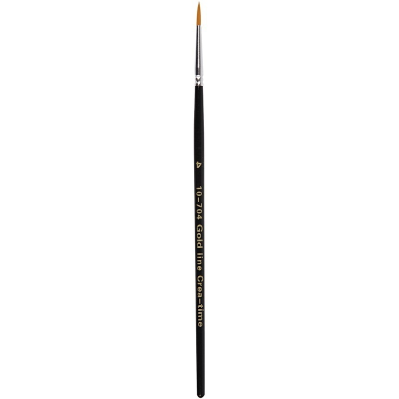 Creativ Company Gold Line Brushes, Round, 4, W: 3 Mm, 12 Pc