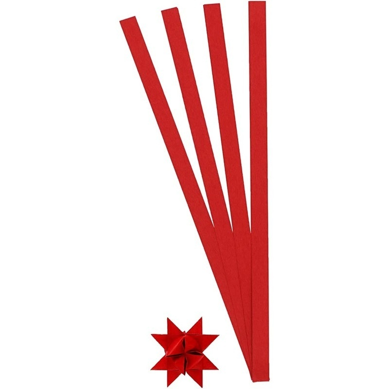Creativ Company Paper Star Strips, Red, W: 10 Mm, 4,5 Cm, 100 Strips, 1 Pack