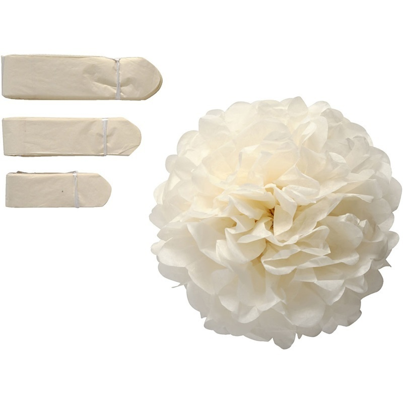 Happy Moments Tissue Pompons, Off-white, 20+24+30 Cm, 3 Pc