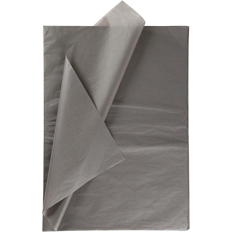 Creativ Company Tissue Paper, Dark Grey, 50x70 Cm, 14 G, 10 Sheet, 1 Pack