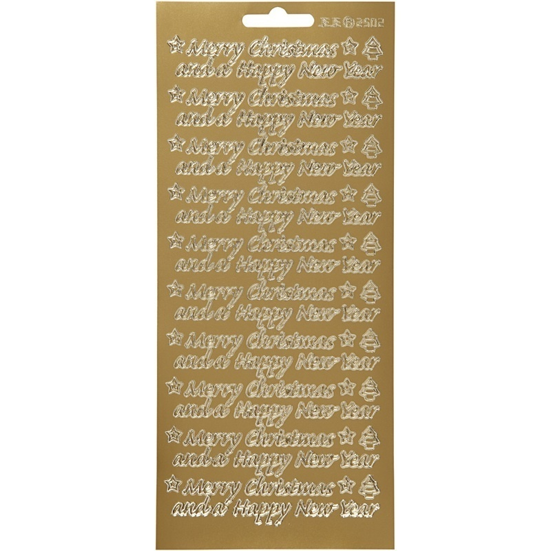 Creativ Company Stickers, Gold, Merry Christmas And A Happy New Year, 10x23 Cm, 1 Sheet