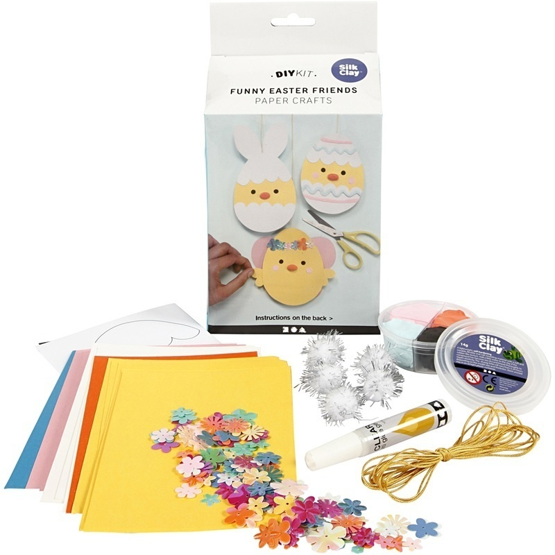 Creativ Company Funny Easter Friends, Card With Decoration, 1 Set