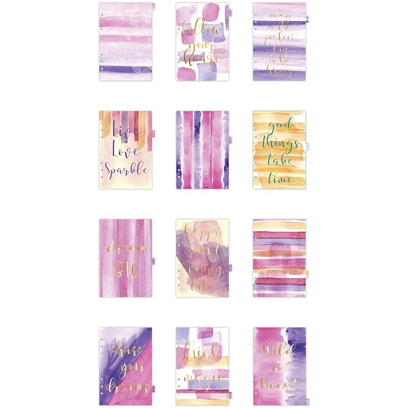 Creativ Company Index Divider, Gold, Purple, Rose, A5, 12, 1 Pc, 1 Pack