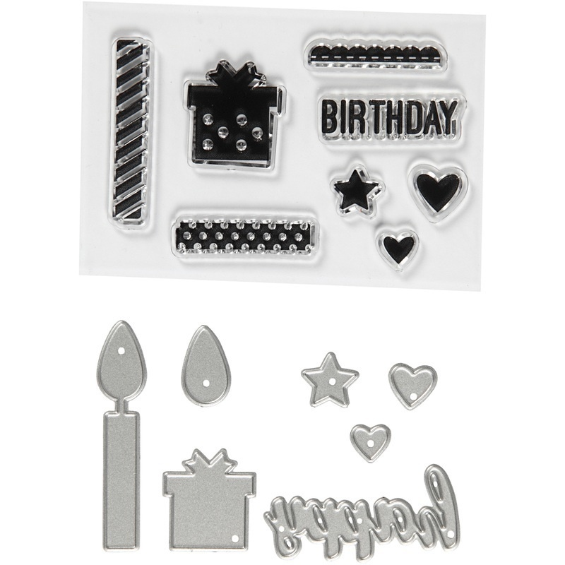 Creativ Company Clear Stamps And Cutting Dies, Birthday, 10-70 Mm, 1 Pack