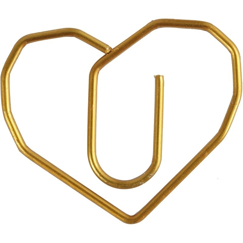 Creativ Company Metal Paperclips, Gold, Heart, 6 Pc
