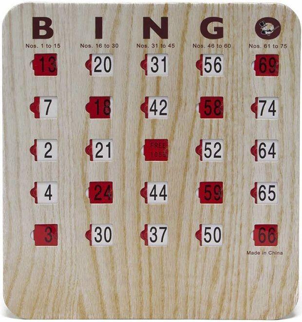 Bingo Shutter Slide Cards - 5 Ply Wood Grain Finish