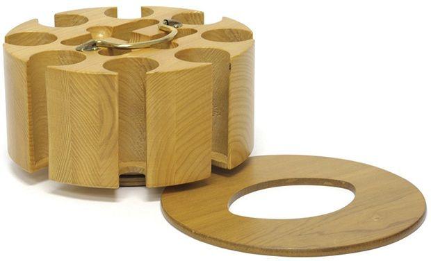 Oak 200 Poker Chip Wood Carousel With Lid