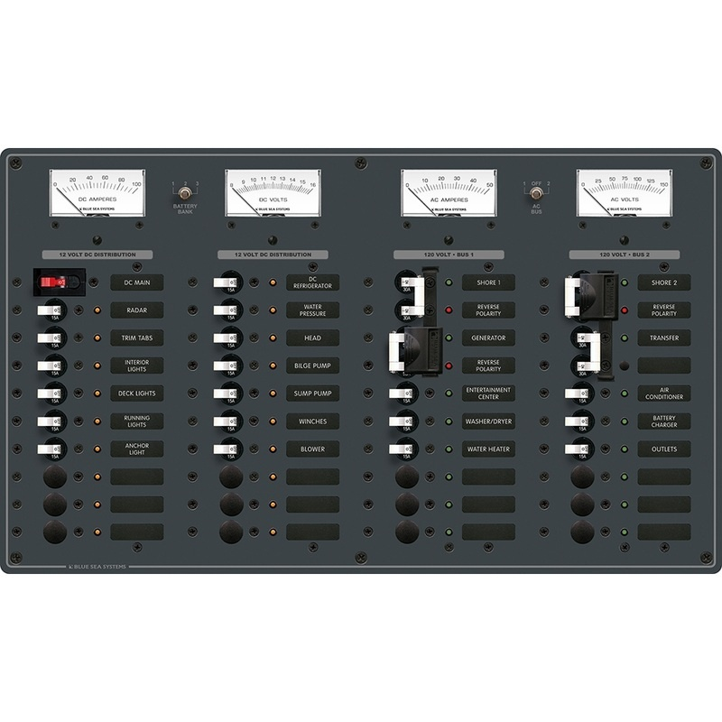 Blue Sea 8086 Ac 3 Sources +12 Positions/dc Main +19 Position Toggle Circuit Breaker Panel - White Switches