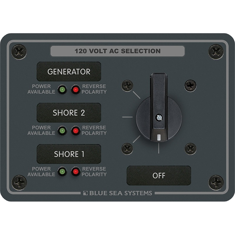 Blue Sea 8366 Ac Rotary Switch Panel 30 Ampere 3 Positions + Off, 2 Pole