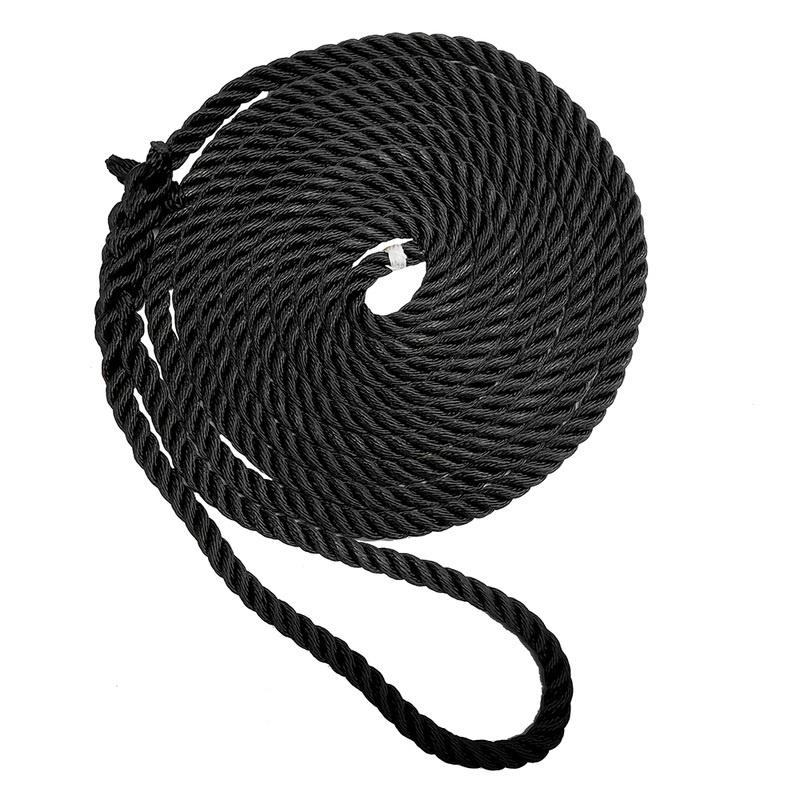 "New England Ropes 3/8"" X 15' Premium Nylon 3 Strand Dock Line - Black"