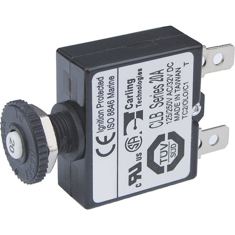 Blue Sea 7057 20a Push Button Thermal With Quick Connect Terminals