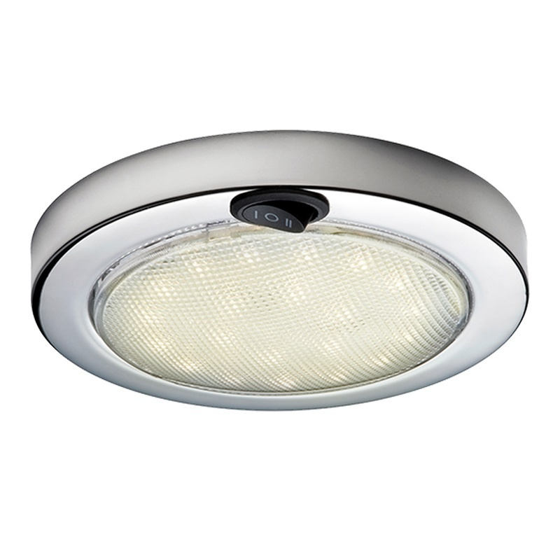 Aqua Signal Colombo Led Dome Light - Warm White/red W/stainless Steel Housing