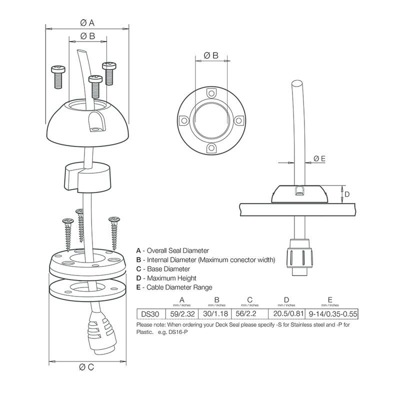 "Scanstrut Medium Deck Seal Connnector - 1.18"" Cable - .55"""