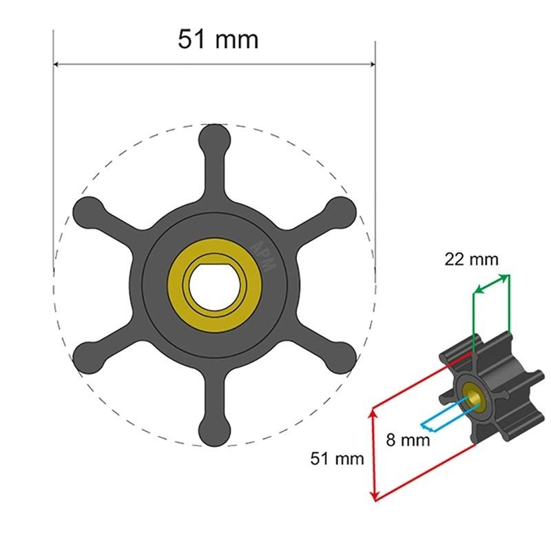 Albin Pump Premium Impeller Kit - 51 X 8 X 22mm - 6 Blade - Single Flat Insert
