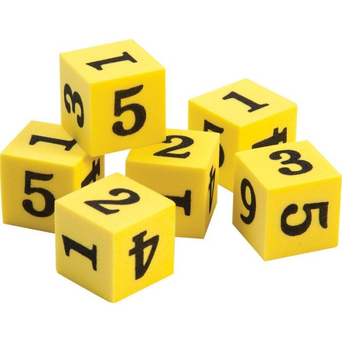 Foam Number Dice, Set Of 6