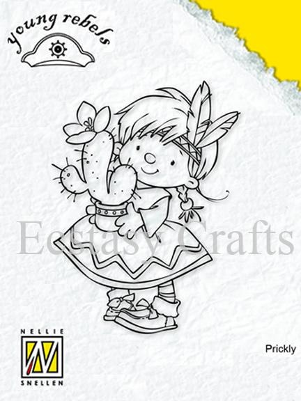Clear Stamps - Young Rebels - Indian Girl With Cactus