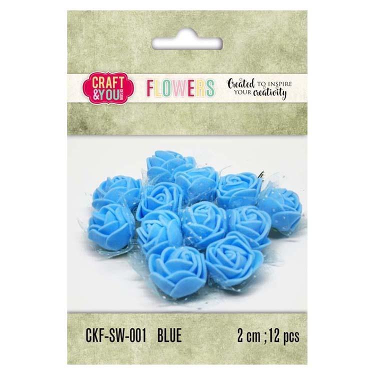 Craft & You Design Foam Roses With Veil Set Of 12 Pcs 2Cm