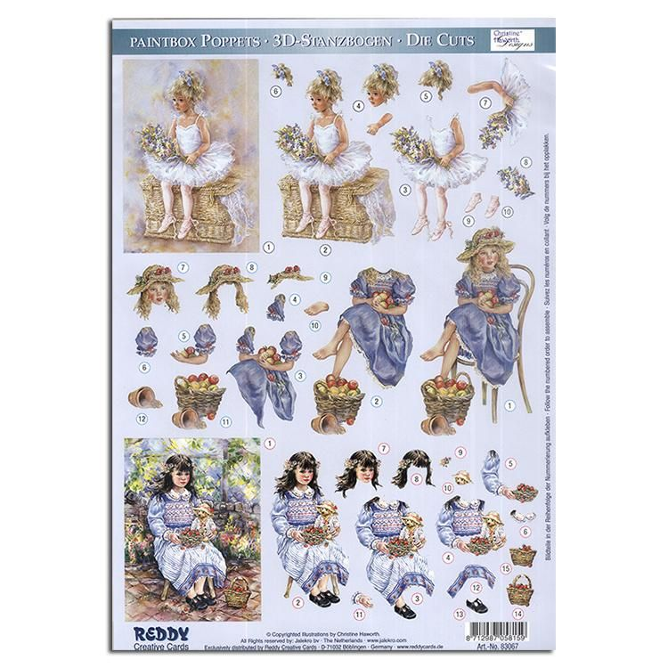 Reddy Creative Cards Die-cut 3d Card Toppers - Paintbox Poppets Young Girls
