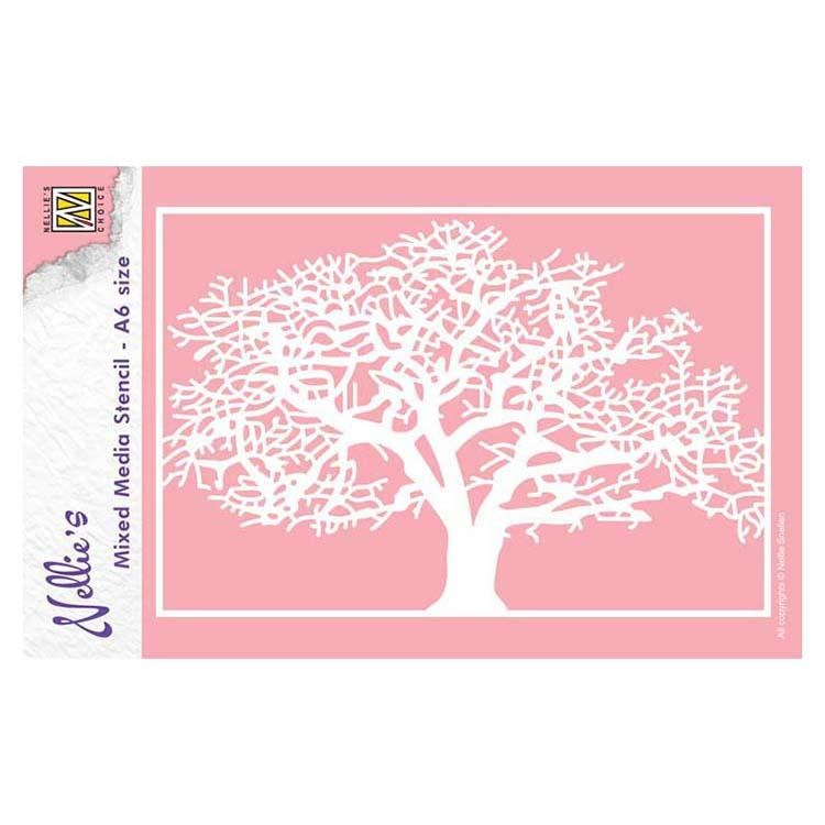 Nellie's Choice A6 Mixed Media Stencil Tree