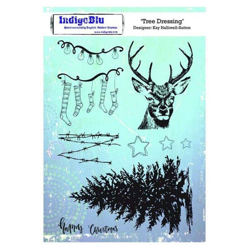 Indigoblu Tree Dressing A5 Red Rubber Stamp